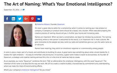 Artikel – The Art of Naming: What's Your Emotional Intelligence?